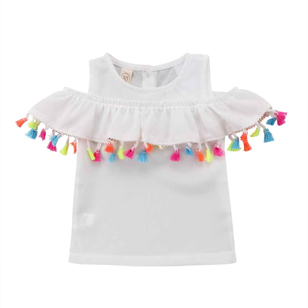 Alione Infant Toddler Baby Girls Cold Shoudler Tops Shirt Tassels Blouse Summer Short Sleeve Dress