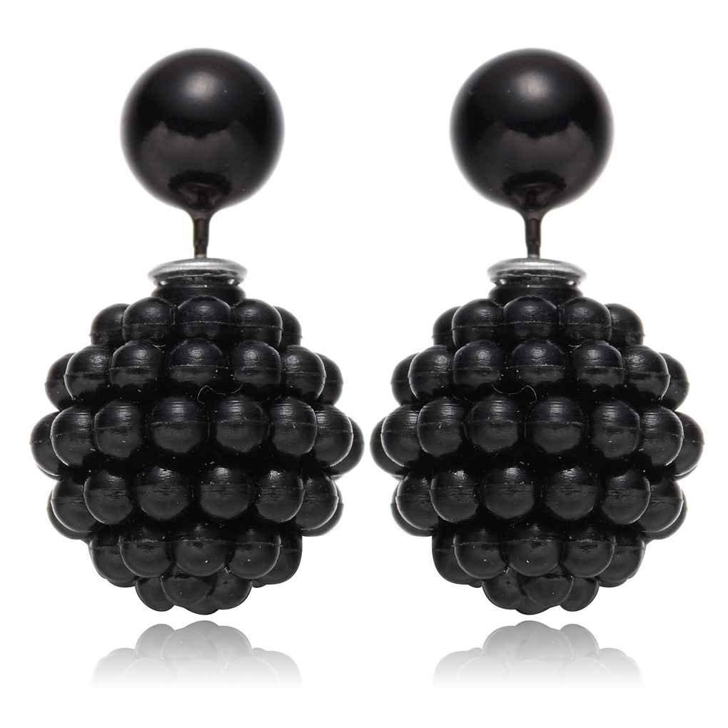 lidahaotin 1 paire Femmes Filles oreille double face Stud forme de boule perle Boucles doreilles en grappe noir