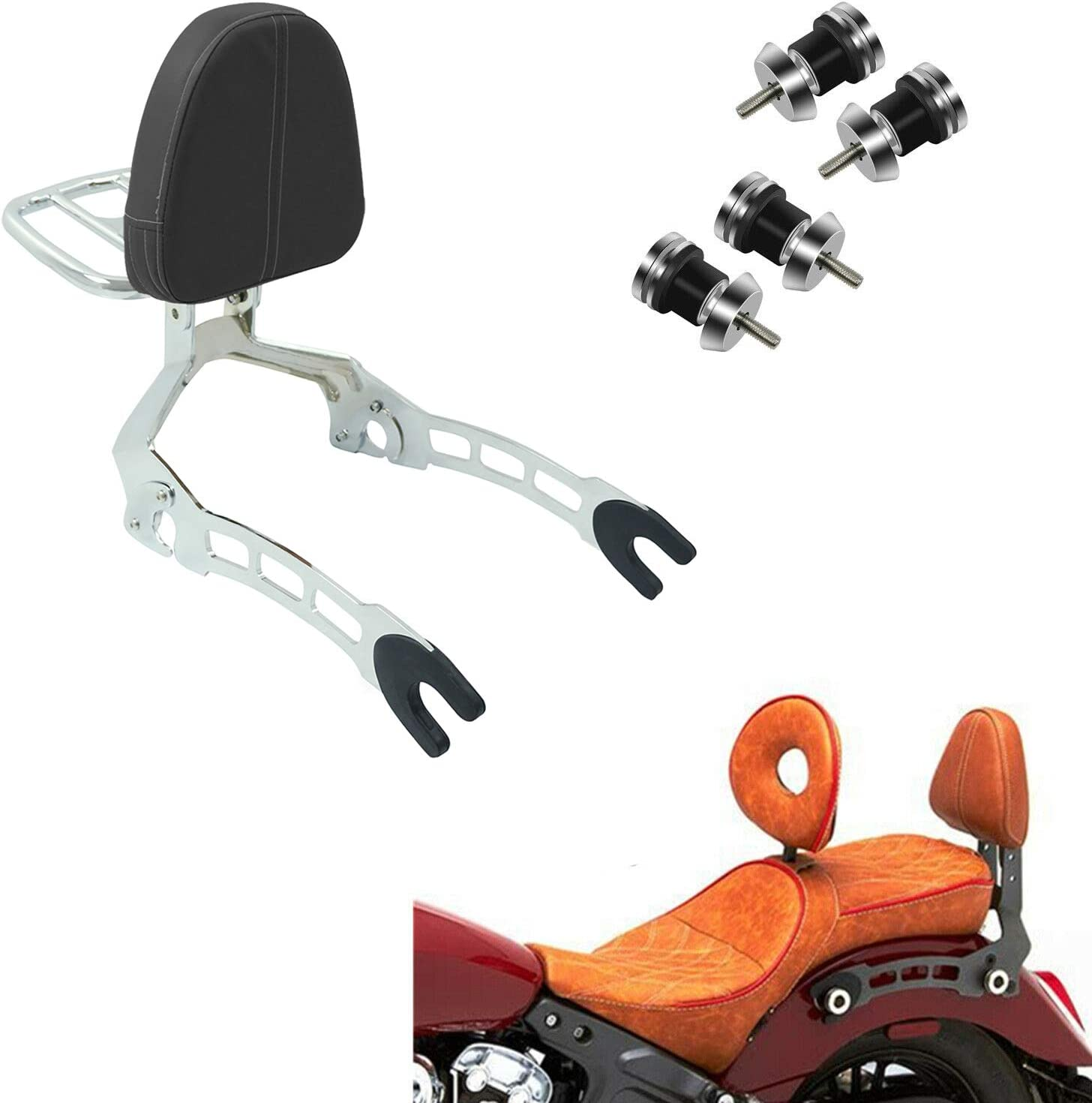 CPART Detachable Backrest Sissy Bar with Luggage Rack and 4 Mounting Spools For Indian Scout Sixty 2015-2019