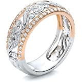 Goddesslili Flower Rings for Women Girlfriend Girls Hollow Mosaic Diamonds Rround Cutout Vintage Wedding Engagement…