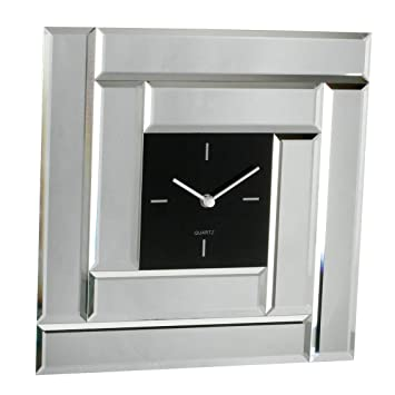 Contemporary Square Mirror Glass Wall Clock Black Centre Amazon