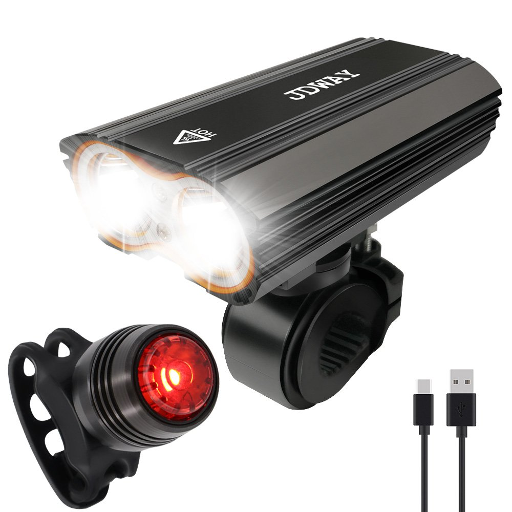 USB Rechargeable Bike Light Set, Super Bright Front Headlight and Free Rear LED Bicycle Light, 4400mAh lithium battery, 3 Light Mode Options, Water Resistant IP-65(2 USB cables and Brackets Included)