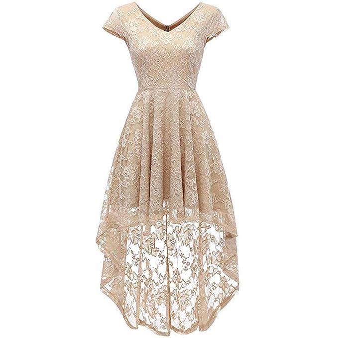 798ebee54dff Lissom Womens Floral Lace Patchwork Cocktail Dress, Wedding Guest Elegant  Midi Dress V-Neck