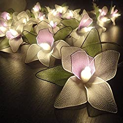 Thai Vintage Handmade 20 light White Orchid Flower Fairy String Lights Battery Wedding Party Floral Home Decor 3.5m
