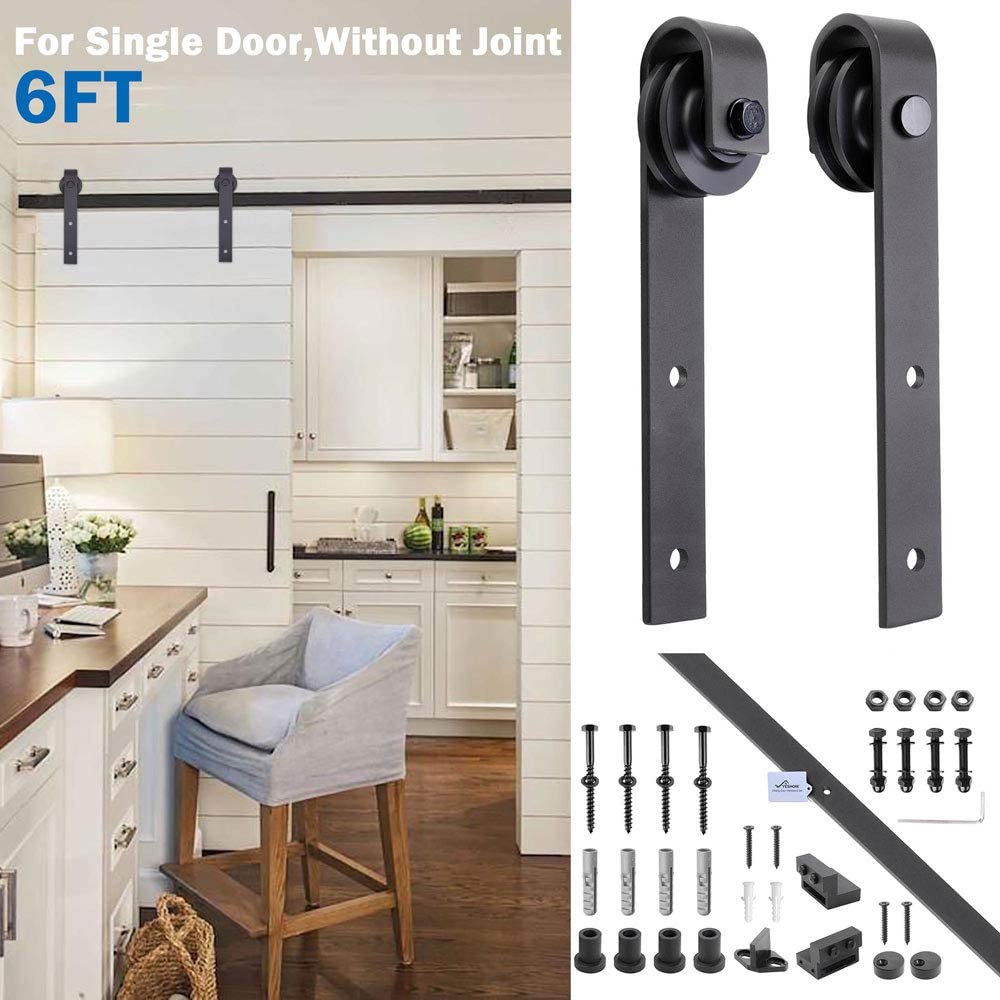 YesHom 6ft Heavy Duty Steel Sliding Barn Wood Door Closet Hardware Track Kit System Set Single Door J Shape Hanger Black