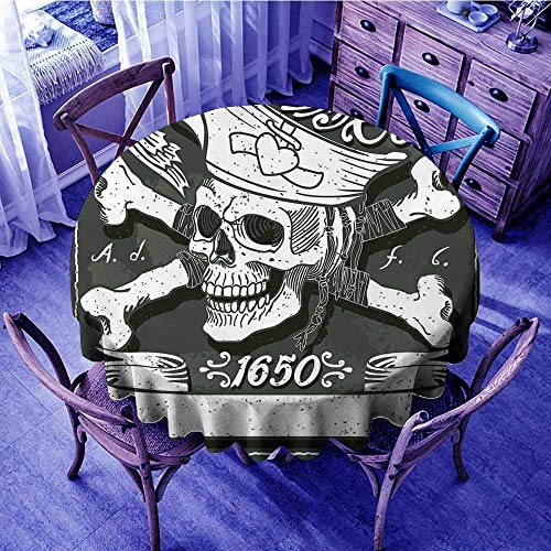ScottDecor Pirate Circular Table Cover Pirate Cove Flag Year of 1650 Vintage Frame Crossbones Floral Swirls Hat Heart Beach Round Tablecloth Black White Grey Diameter 36