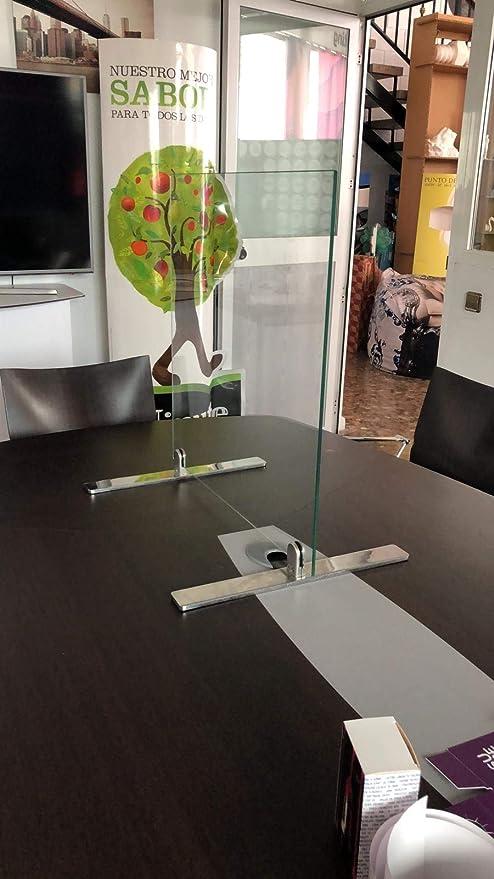Mampara de Cristal de Seguridad para mostrador con Patas de Acero 20cm de Base máxima protección de Medidas 60x60cm: Amazon.es: Hogar