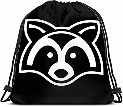 Raccoon Animal Face Animals Wildlife Adorable Drawstring