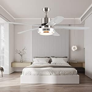 Tropwellhouse 56Inch Led Ceiling Fan with Light 3 Speed Remote Control 5 ABS Blades Modern Decoration Home/Living Room/Bedroom