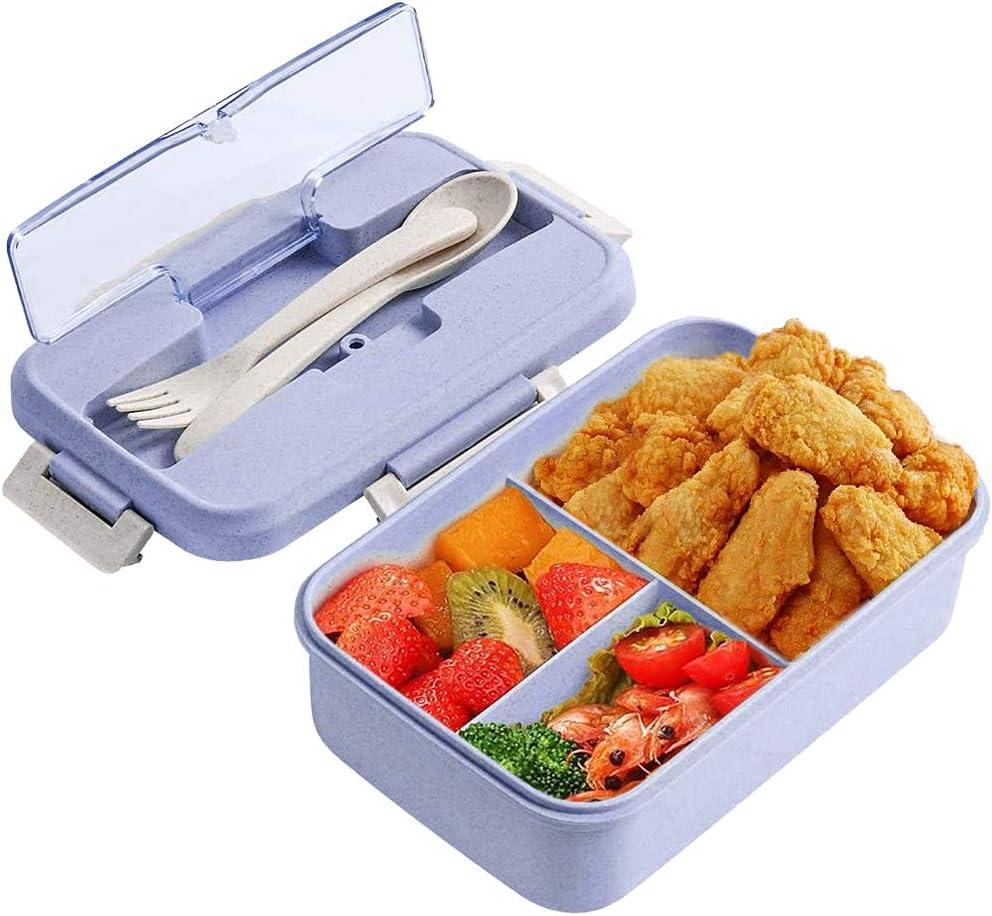 Caja de Bento, ZoneYan Lunch Box Infantil, Fiambreras con 3 Compartimentos, Cuchara Tenedor Lonchera, Fiambreras Caja de Almuerzo Ideal para Microondas (púrpura)