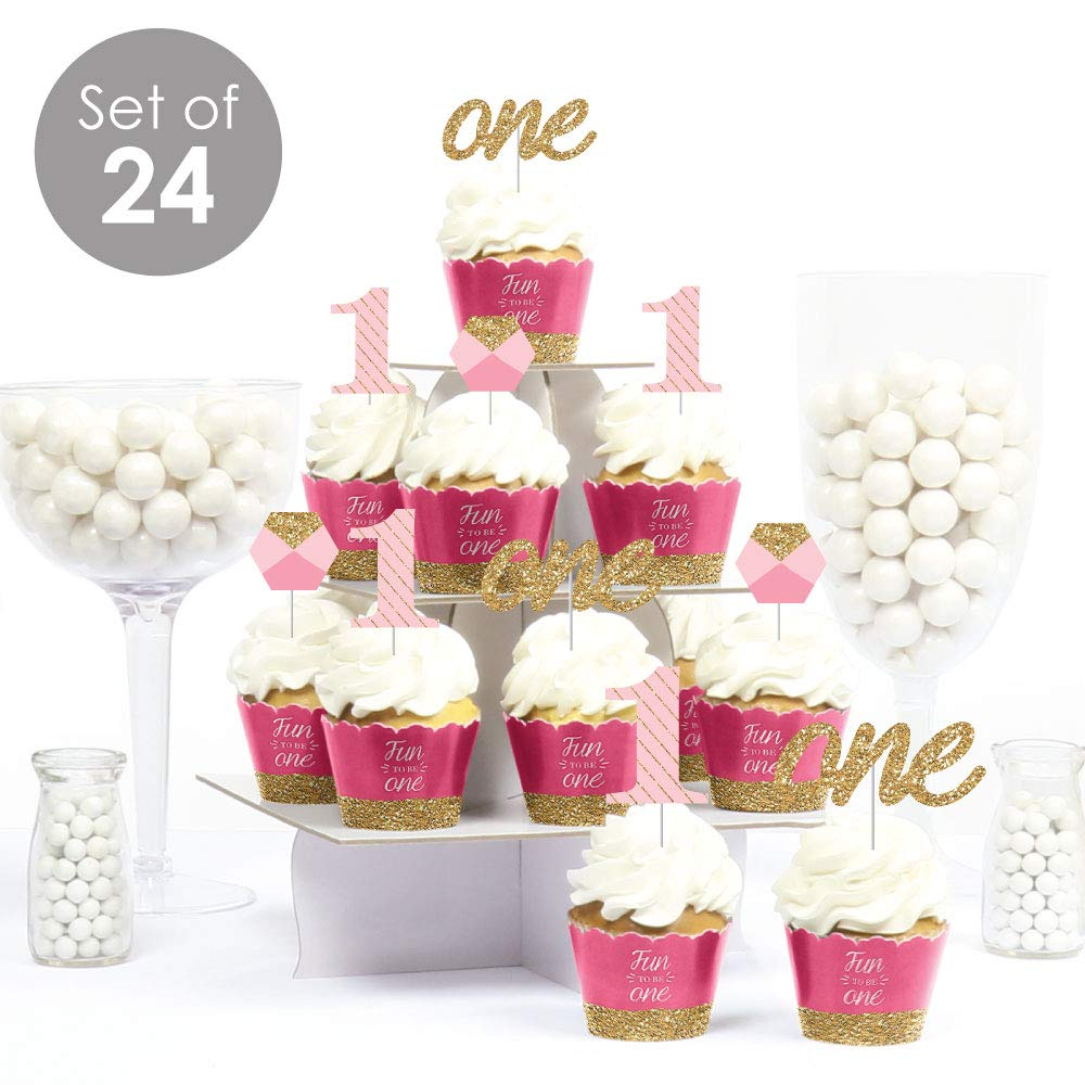 1st Birthday Girl - Fun to be One - Cupcake Decoration - First Birthday Party Cupcake Wrappers and Treat Picks Kit - Set of 24 by Big Dot of Happiness (Image #2)