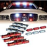 DT MOTO™ Red White 54x LED Emergency Service Vehicle Dash Deck Grill Warning Light - 1 set