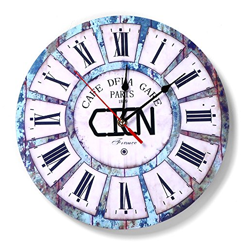 CICN Wall Clocks 12 Inch Decorative Silent Non Ticking Vintage Wall Clock Ocean Blue Rustic Style for Living Room Bedroom Kitchen Office (Blue)