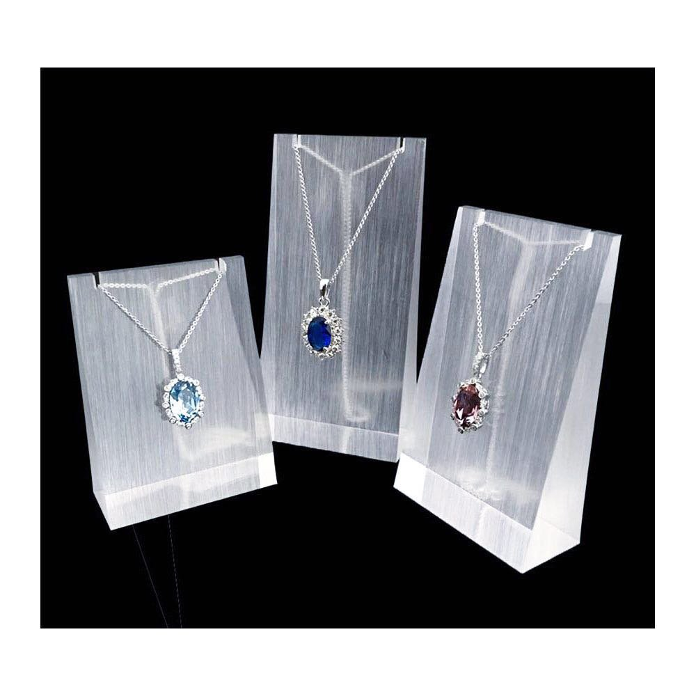 Necklace Display Stand Fine Exhibition Jewelry Holder Acrylic Store Gallery Trade Shows (Set of 3) (Glossy)