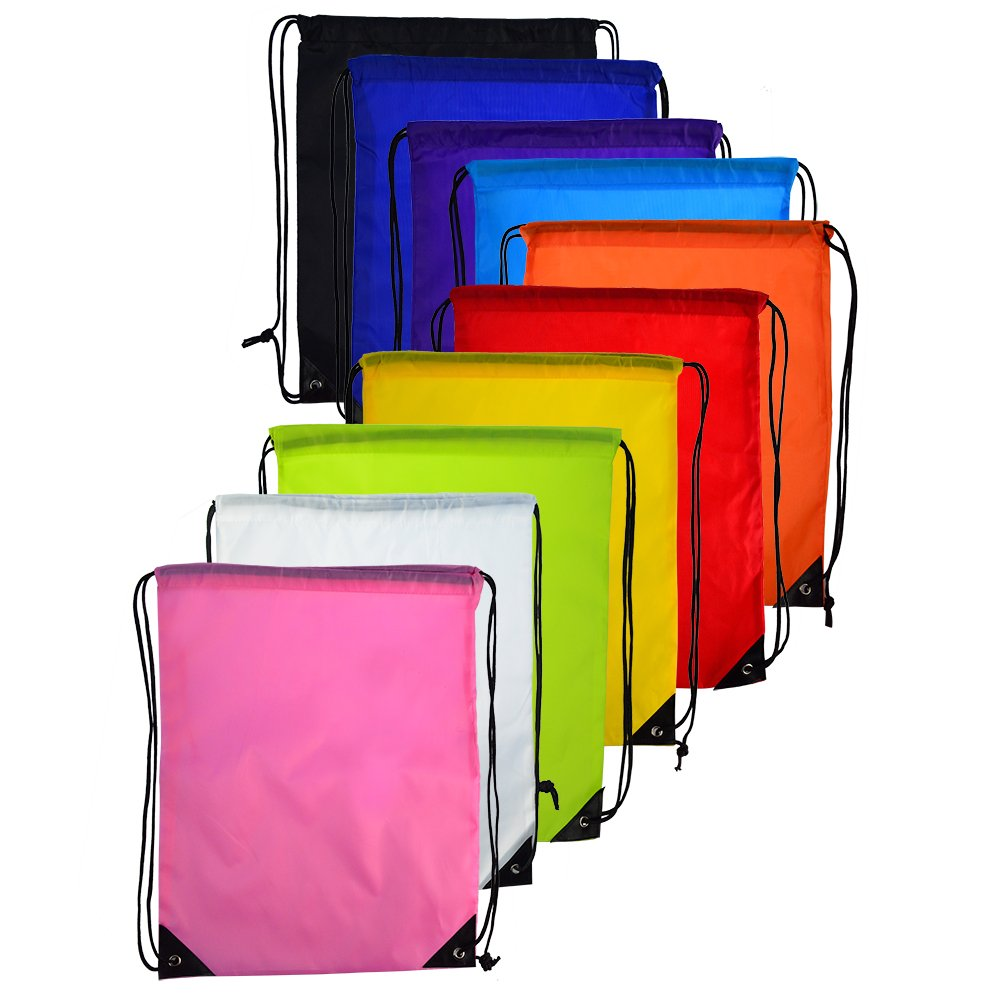 10 pcs Drawstring Backpack Cinch Nap Sack Tote Bags for Picnic Gym Sport Beach Travel Storage