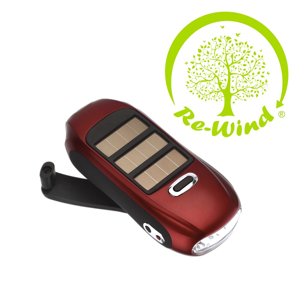 Re-Wind Eco Friendly Wind Up and Solar Powered Dynamo Pocket Torch With Powerful 3 LED Beam! Ideal Accessory For Walking, Hiking, Camping, Festivals, Power Cuts, Car Breakdown Internal Emergency Light. No Batteries Needed! B008HPPLOK