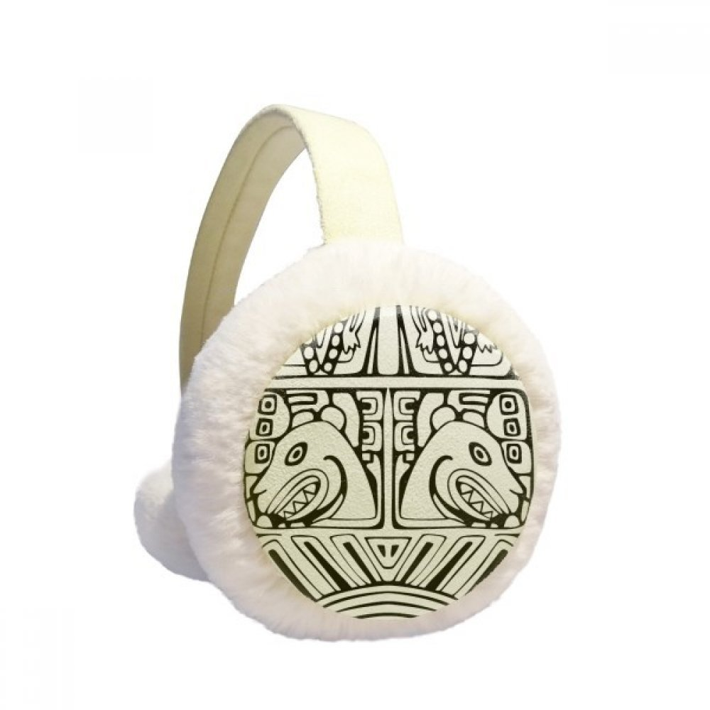 Indian Abstract Line Drawing Totem Pole Face Winter Earmuffs Ear Warmers Faux Fur Foldable Plush Outdoor Unisex Gift