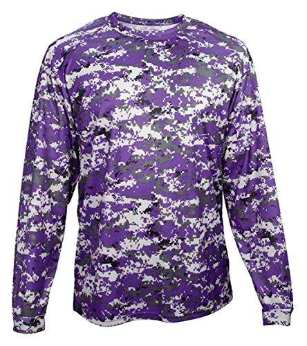 - Badger BG4184 Men's Long Sleeve Sublimated Tee Purple Digital L