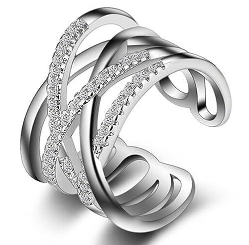 Ring Swarowski Zirkonia Silber größenverstellbar Verlobung Hochzeit