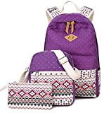 Goldwheat Fashion Canvas Backpack School Bag Casual Bookbag Laptop Shoulder Daypack Handbag Purse for Teen Girls Boys (Purple)