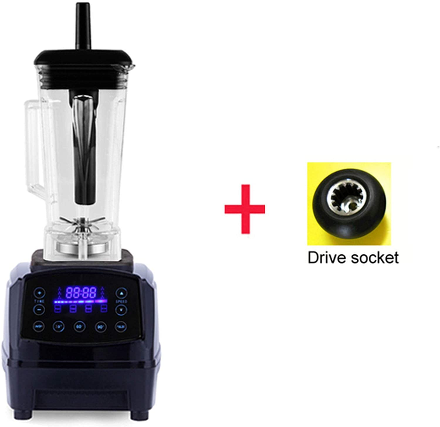 Automatic Digital Smart Timer Program 2200W Heavy Duty Power Blender Mixer Juicer Food Processor Ice Smoothie Bar Fruit,Black extra driver