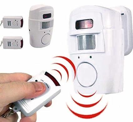 Takestop® - Kit antirrobo alarma con sensor de movimiento, sirena 105 decibelios, 2 mandos a distancia, soporte de pared para casa, oficina, ...