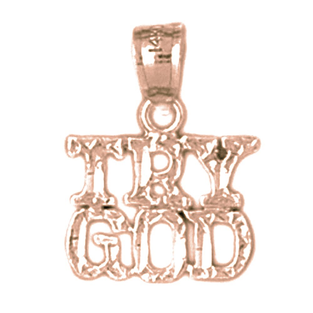 Jewels Obsession Silver Try God Necklace 14K Rose Gold-plated 925 Silver Try God Saying Pendant with 16 Necklace