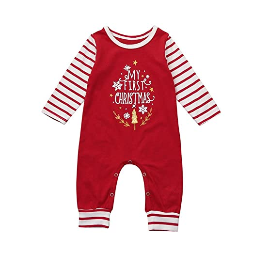 e7540e666eb5 Amazon.com  iumei Baby Boy Girl My First Christmas Clothes Striped ...