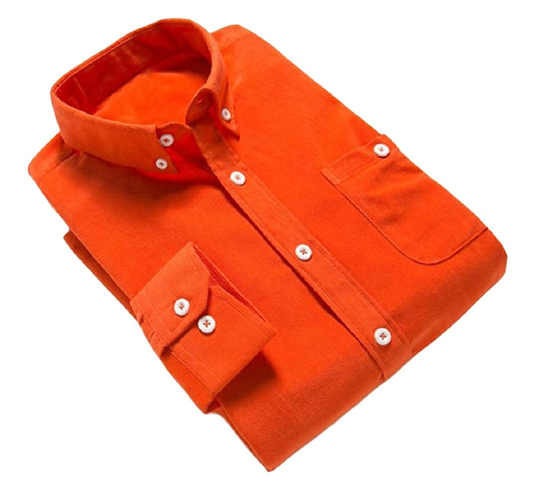 YUNY Men Business Button-Down-Shirts Corduroy Tops Fit Shirt Orange S