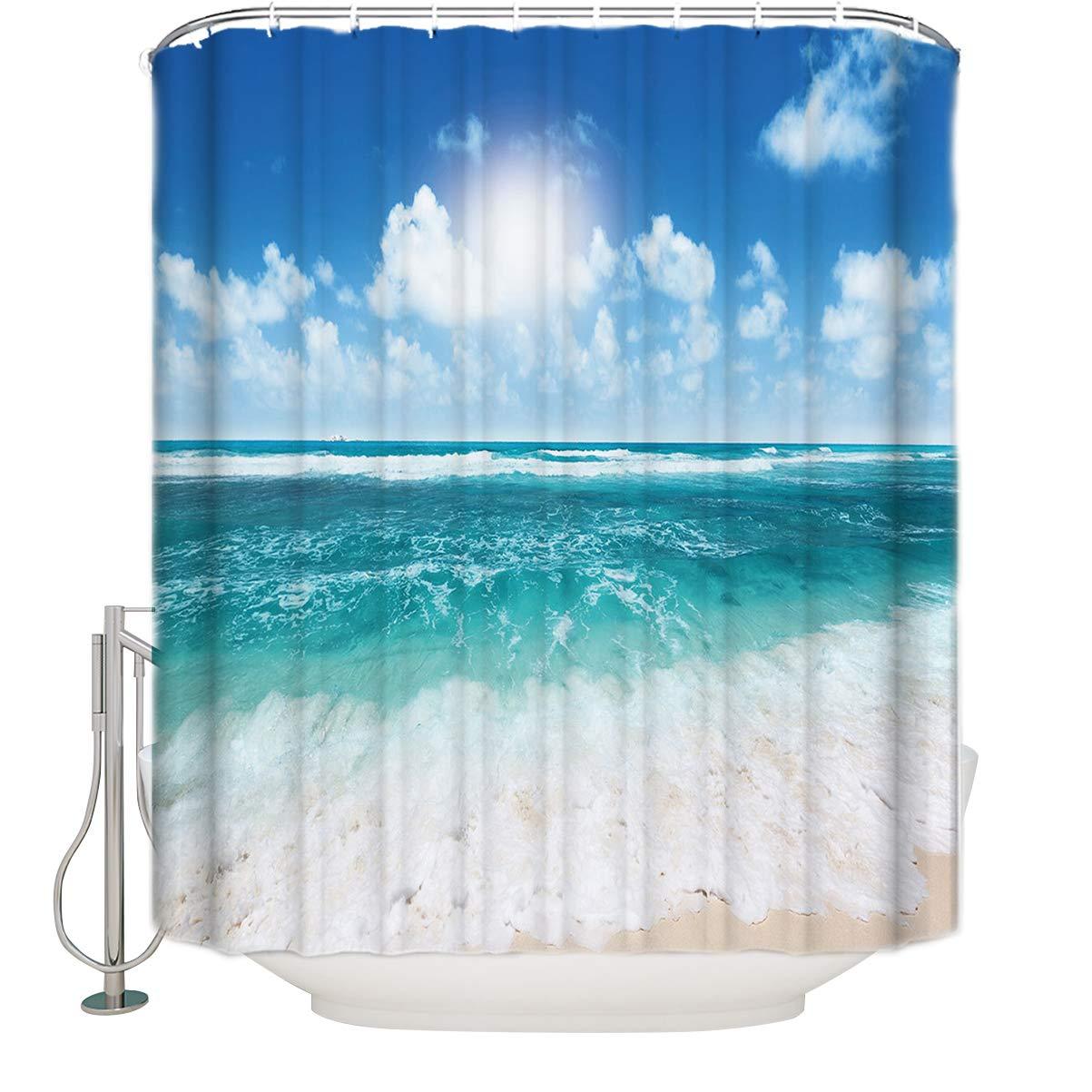 Anzonaビーチヒトデシェル防水防かびファブリック浴室シャワーカーテンフック付き 割引 36'' x 72'' スタイル6 通販 B07FFKH6CW