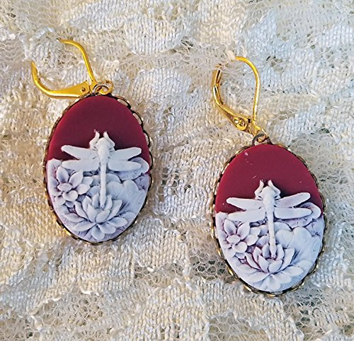 - Dragonfly Cameo Earrings White on Carnelian Background