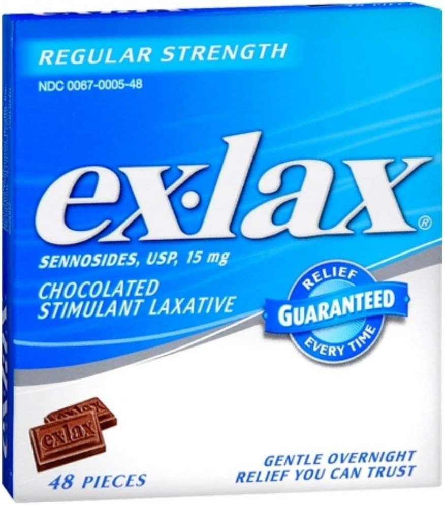 Ex-Lax Regular Strength Stimulant Laxative Chocolated Pieces, 48 count: Health & Personal Care