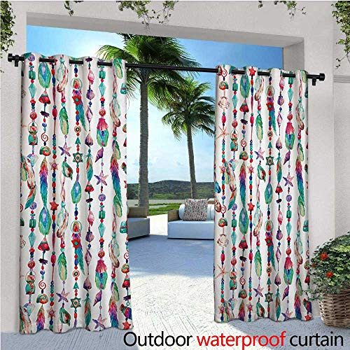 - Feather Outdoor Privacy Curtain for Pergola Marine Accessory Chains Pendants Mineral Stones Shells Beads Watercolor Style Art Thermal Insulated Water Repellent Drape for Balcony W96