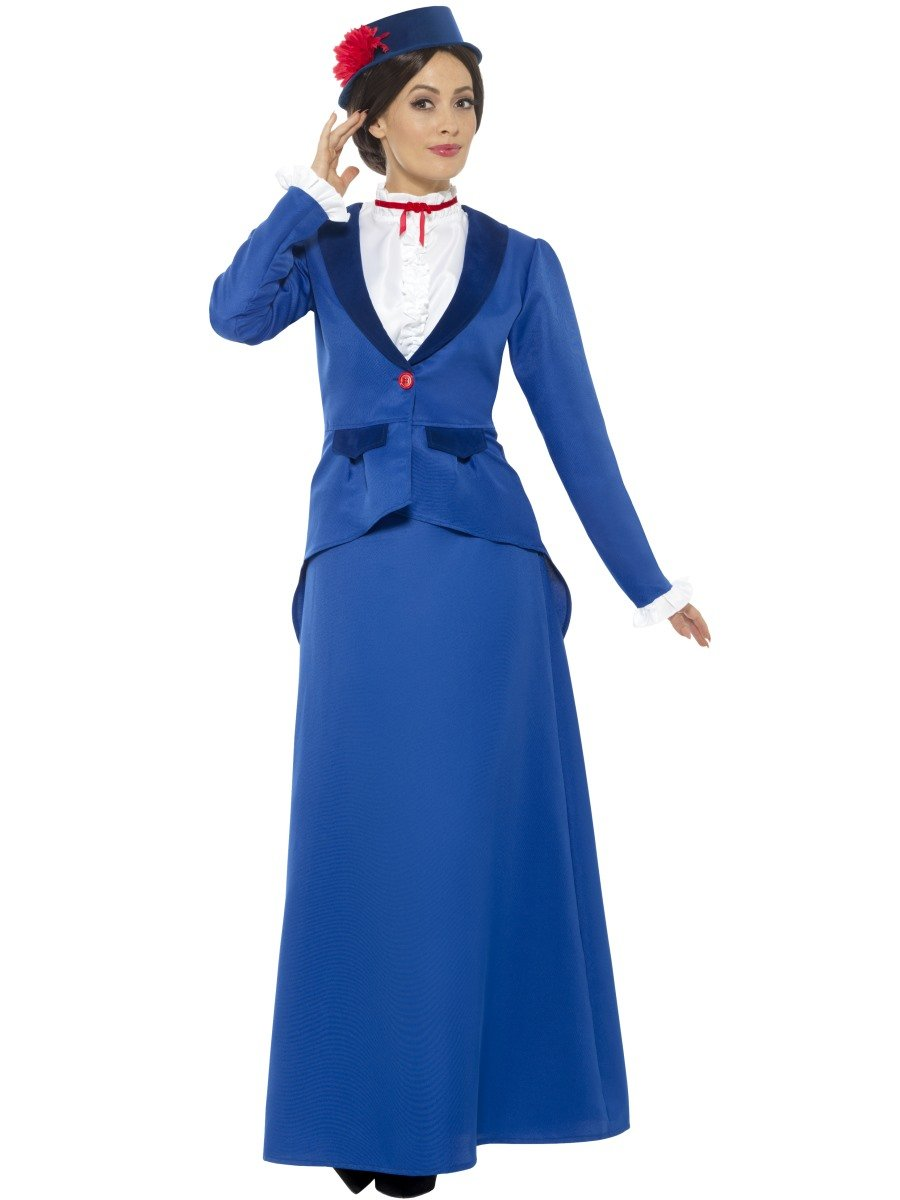 Smiffys Disfraz de niñera Victoriana, Azul, con Chaqueta con Camisa postiza, Falda y som: Amazon.es: Juguetes y juegos