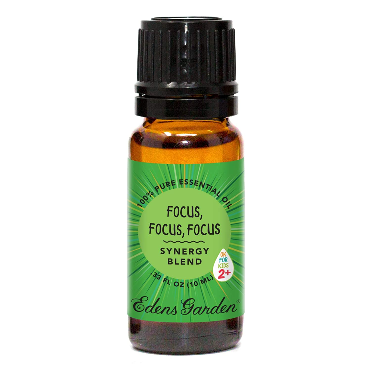 "Edens Garden Focus, Focus, Focus""OK For Kids"" Essential Oil Synergy Blend, 100% Pure Therapeutic Grade (Child Safe 2+, Detox & Energy), 10 ml"