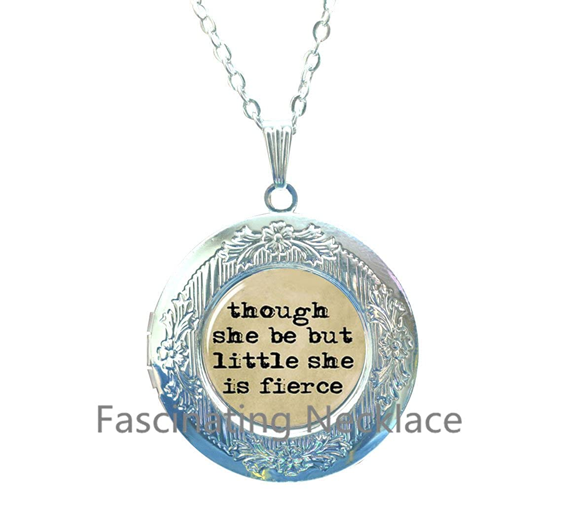 New Locket Necklace,Though She Be But Little She Is Fierce Locket Necklace,Quote Locket Necklace,Quote Locket Pendant, Typewriter /& Old Paper Locket Necklace Locket Pendant,AE0020