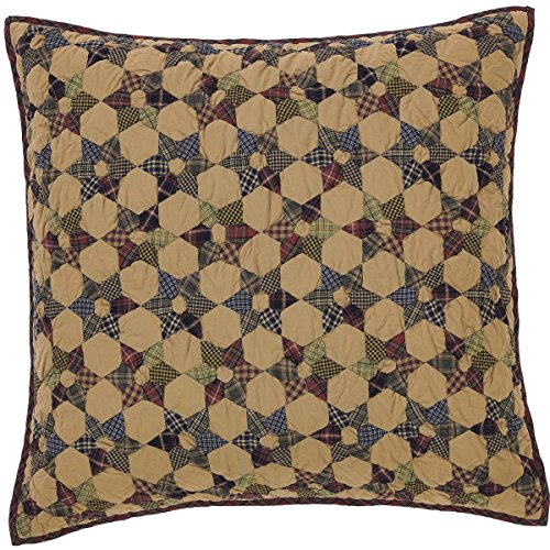 VHC Brands Rustic & Lodge Primitive Bedding - Tea Star Tan Quilted Euro Sham, -