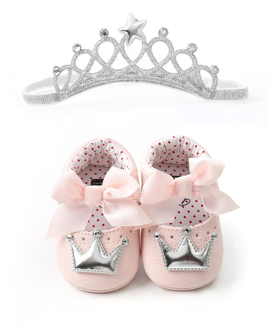 Infant Toddler Girls Birthday Shoes Soft Sole Anti-Slip Party Dress Shoes Prewalker with Crown Headband(13cm(12-18months),Style-3)