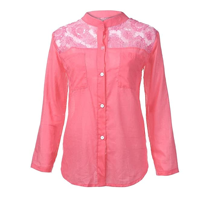 Mujer Blusa topsa camiseta manga larga moda fashion 2018,Sonnena Las señoras de las mujeres de encaje sólido de manga larga blusa Pullover Tops camisa con ...