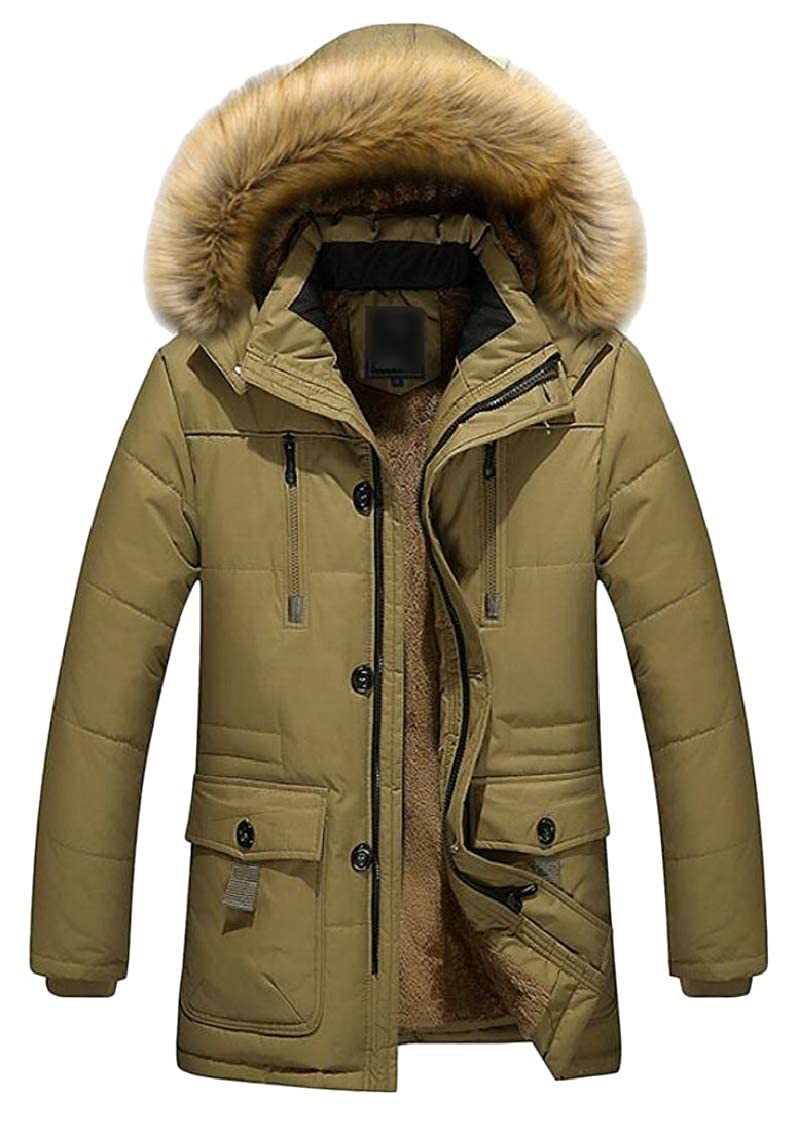 jxfd Men's Winter Hooded Faux Fur Parka Jacket Outwear Quilted Coats