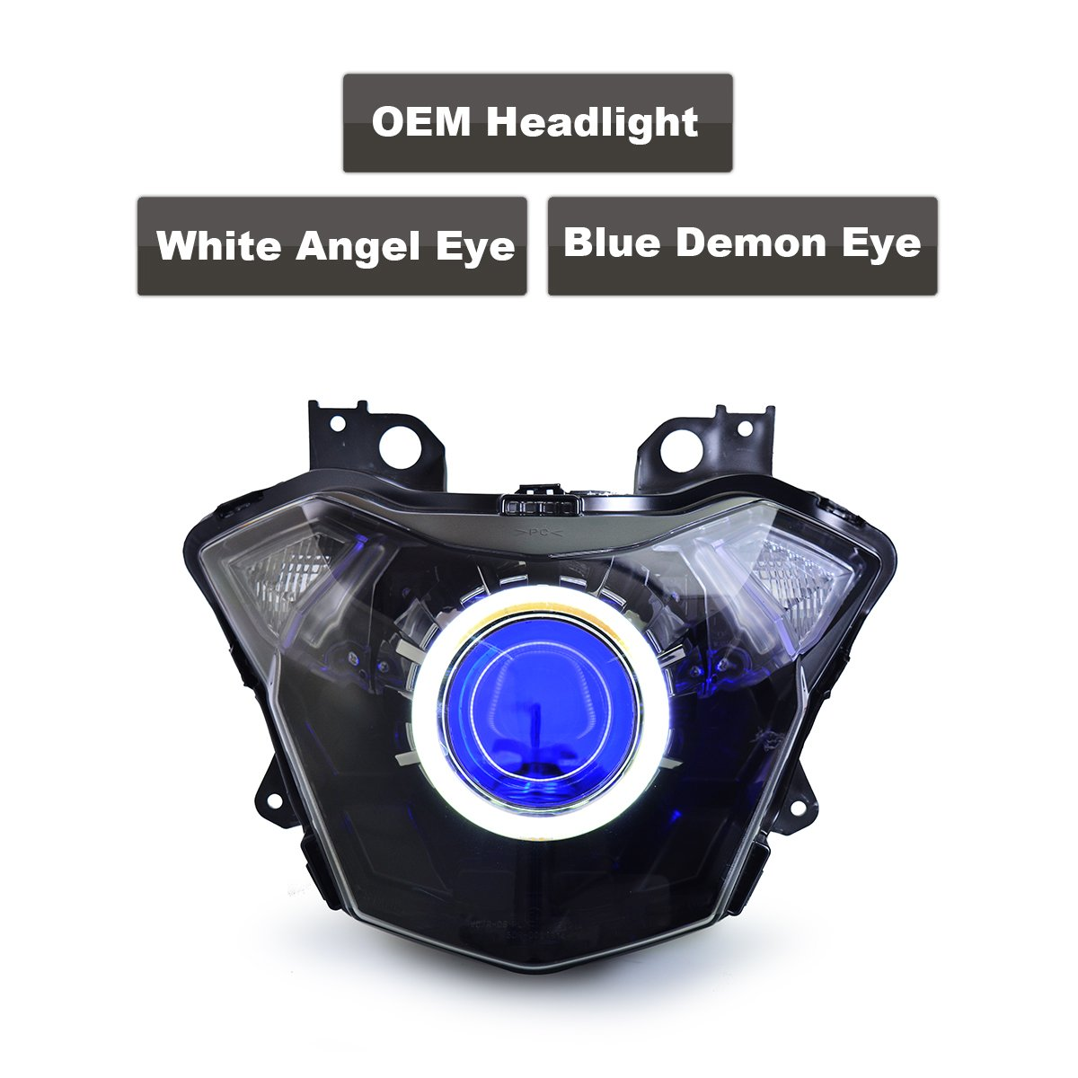 Kt Led Angel Eye Headlight Assembly For Kawasaki Z650 Wiring Harness 2017 Blue Demon Automotive