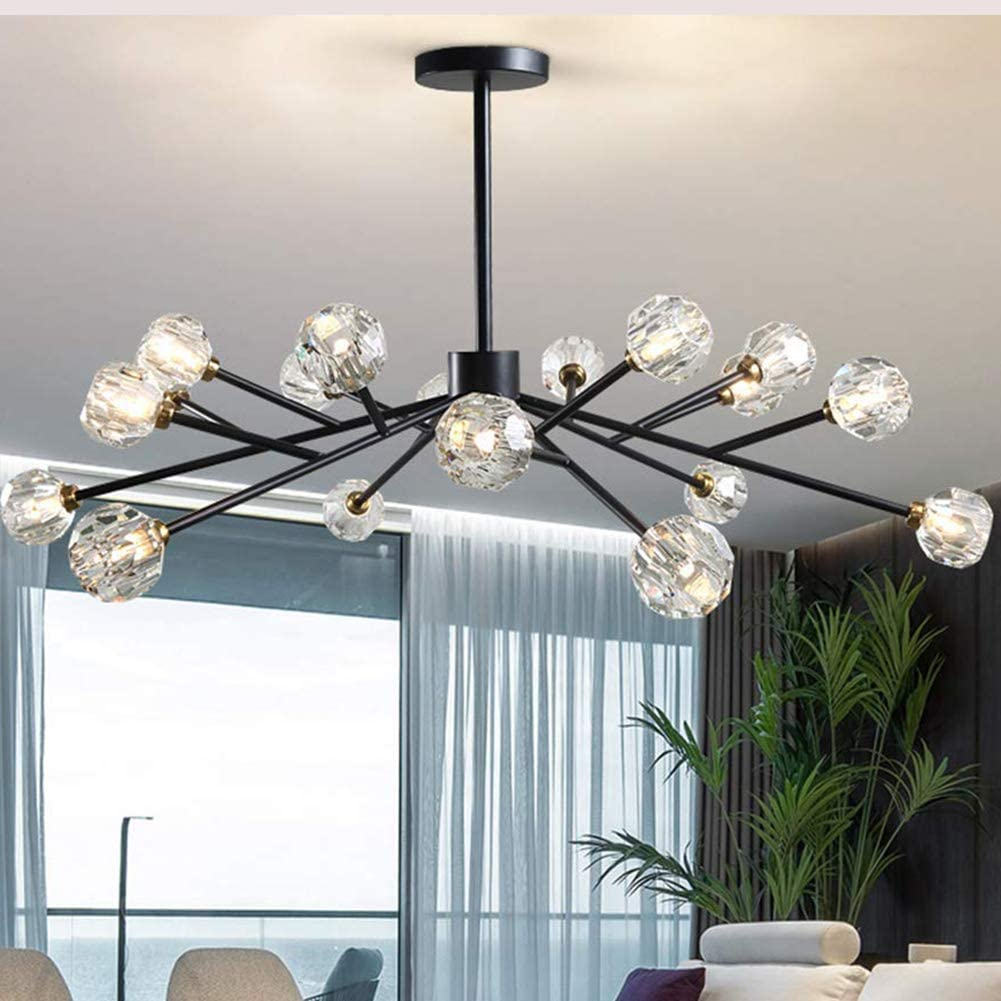 Amazon Com Sputnik Crystal Chandeliers Modern Pendant Light With 18 Light Branch Chandeliers Matte Black Finish Ceiling Fixtures G9 Bulbs 42 Inch For Living Room Bar Shop Home Kitchen