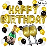 34 Pcs HAPPY BIRTHDAY Alphabet Balloons Champagne Balloons Aluminum Foil Banner Balloons Kit for Birthday Party Decorations
