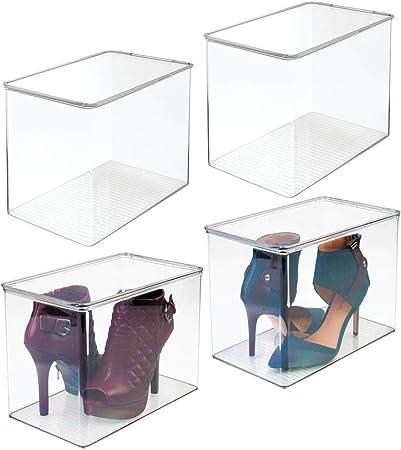 mDesign Juego de 4 cajas para guardar zapatos – Cajas de plástico apilables para ordenar zapatos de tacón y botas – Cajas para armarios o para el pasillo – transparente: Amazon.es: Hogar
