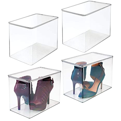 mDesign Closet Storage Organizer Shoe Box, for High Heels, Tall Pumps, Boots Pack of 4, Clear