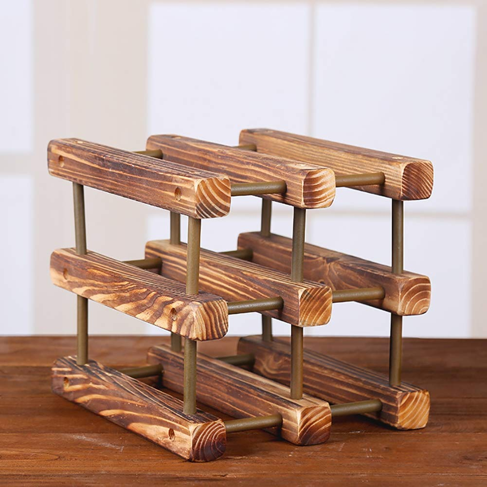 JLNHSDR Creative Restaurant Wooden Wine Rack Solid Wood Material - Can Store 6 Wine Bottles - Suitable for Decorating Restaurants and Bars by JLNHSDR