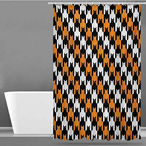 Tim1Beve Bathroom Shower Curtain,Halloween Digital Style Catstooth Pattern Pixel Spooky Harvest Fashion Illustration,Bathroom Curtain Washable Polyester,W72x84L,Orange Black White -
