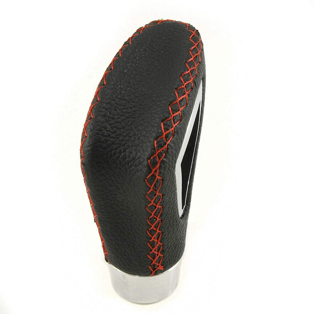 Boloromo 41984946 5 Speed Manual Gear Shift Knob Black Leather and Red Stitching
