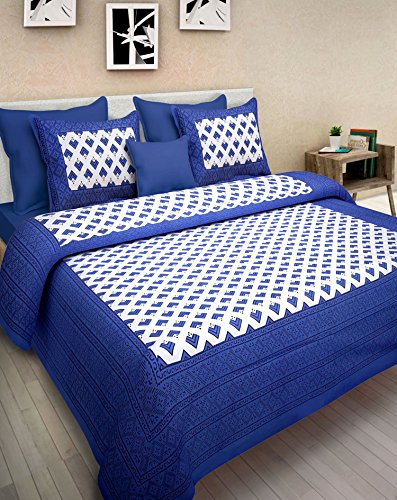 Pure Cotton Luxury King Size Mandala Bed Sheet Set with 2 Pillow Cases,Best Quality For Home, Hotel, Wrinkle, Fade, Stain Resistant, Hypoallergenic (Blue White (Diy Toga)