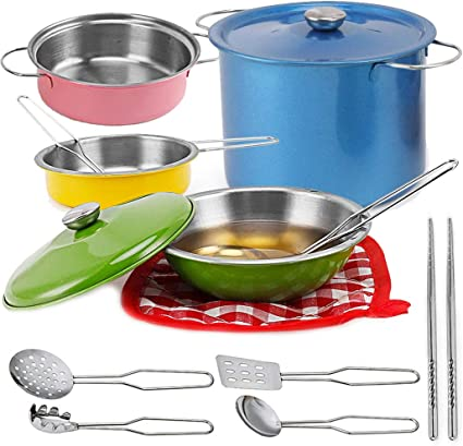 Amazon Com Liberty Imports Multicolored Stainless Steel Metal Pots And Pans Kitchen Cookware Playset For Kids With Cooking Utensils Set Toys Games